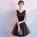 【送料無料】ショート丈ドレス Vネック ノースリーブ リボン ワンピース ブラック モノトーン カラードレス 結婚式(B176)