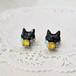 ◇レモンミント◇黒猫とスワロビジューのピアス/イヤリング