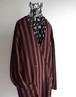 1980's [ANNIE GERARD] カラーレス ダブルブレスト テーラードジャケット ブラウン×ブラック ブロックストライプ柄 実寸(women's L程度) ヴィンテージ