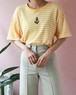 80s SONIA RYKIEL yellow border t-shirt