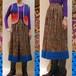 XS~Mサイズ【アメリカ製古着】1970年代ヴィンテージ◆ペイズリープリントにかぎ針編みの裾飾り◆ロングスカート