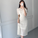 【dress】魅力アップデートワンピース透かし彫り編みデザインインナー付き4色