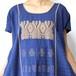 手織りワンピース  dark blue×beige