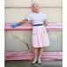うすピンクと小花のハンカチ付きスカート