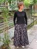 WOMENS:LILOU+LILY【リルアンドリリー】COTTON HANDWRITING FLOWER WIDE PANTS(ブラック×グレー/ワンサイズ展開38)花柄ワイドパンツ