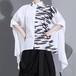 裾変形デザイン アシンメトリー シャツ 韓国ファッション レディース ロングシャツ ブラウス モード 半袖 ルーズ 大人カジュアル 大人可愛い ガーリー 620283788824