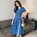 【dress】売り切れ必至Vネックパフスリーブ切り替えデニムワンピース M-0480