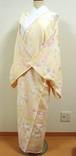 クリーム色に流水と菊や菖蒲 長襦袢 胴抜き無双仕立て
