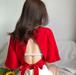 【送料無料】【4色】バックセクシー リボン付き 半袖シャツ Tシャツ 無地 ショート丈 夏