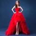 チューブトップドレス ひざ丈 ウエディング ギャザー バラ お呼ばれ パーティー wb011