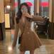【ワンピース】気質満点初秋新作収束スーツネックギャザー飾りファッションデードワンピース23586538