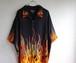 2000's ファイヤーパターン チカーノシャツ ブラック×オレンジ 表記(4X)