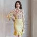 【set】フェミニンセットアップオフショルダー花柄ブラウス+マーメイドスカート
