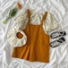 可愛い 夏 新作 シャツ 花柄 オーバーオール スウィート オシャレ 2点セット セットアップ