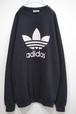 1990's adidas トレフォイルロゴ ラグランスリーブスウェット 黒×白 実寸(XL位) アディダス