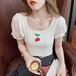 【tops】大人可愛いスクエアネック韓国系着心地よい編みさくらんぼTシャツ2色