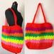 タイのカラフル編みトートバッグ(オレンジ)