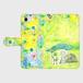 【M】シロツメクサとカエル手帳型スマホケースAndroidMサイズ,iPhone5/5s/6/6s/7/SE/X/XS/