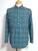 1960's PENDLETON オンブレーチェックウールシャツ ターコイズブルー 表記(15 1/2) ペンドルトン