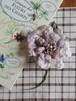 アンティークスタイルの手染め布花コサージュ  モカモーヴのダリア n-12