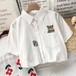 韓国ファッション  刺繍  着回し力抜群  POLOネック  半袖  シャツ・ブラウス・トップス