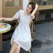 【dress】早い者勝ち 着瘦せスクエアネックパフスリーブデートワンピース3色