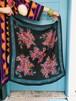 Vintage black × blue floral scarf ( ヴィンテージ ブラック × ブルー 花柄 スカーフ )