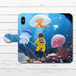 #080-003 手帳型iPhoneケース 手帳型スマホケース 全機種対応 iPhoneXS/X おしゃれ 海 Xperia iPhone5/6/6s/7/8 かわいい くらげ Galaxy ARROWS AQUOS HUAWEI Zenfone タイトル:くらげの海 作:星宮あき
