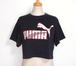 1980's PUMA ショート丈Tシャツ USA製 黒 表記(XL)