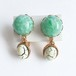 green & white earring[e-822]