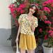可愛い オシャレ 夏 花柄 折り襟 ふんわり袖 ショートパンツ 着痩せ 2点セット セットアップ