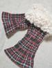 手織り カシミア*タータンチェックアームウォーマー*ファー付