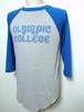 1980's 染込みカレッジプリントラグランTシャツ グレー×ブルー 実寸(M~L)