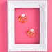 オレンジ水玉の鏡と小さなパールのピアス