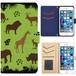 Jenny Desse iphone 7 ケース 手帳型 カバー スタンド機能 カードホルダー グリーン(ブルーバック)