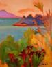 市川加久一 「唐荷を望む」 油彩画 F6号