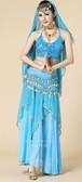 BLC1581ライトブルー4点セットトップス+スカート+ベール+腰飾り社交ダンスウェア ベリーダンス 練習服 公演服 演出服