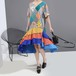 ワンピース 不規則デザイン 半袖 韓国ファッション レディース ラウンドネック ゆったりウエスト ハイウエスト 大人カジュアル 大人可愛い 618924682398