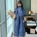 韓国ファッション 可愛い チュニック 折り襟 長袖 無地 ダウンコート・アウター