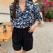 レトロ オシャレ カジュアル 折り襟 着痩せ 合わせやすい シャツ・トップス