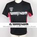 Tommy North  ブランドロゴプリント アクティブ バドミントンTシャツ BDM0002 ブラック×ホットピンク