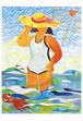 2008年「海水浴〜昭和の女」絵はがき 大きいサイズ