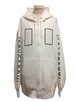 RECTANGLE OVER SIZE ZIP HOODIE -WHITE-