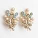 pearl & blue rhinestone bouquet earring[e-726]