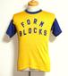 1950's Russell Southern レタードレーヨンアスレチックTシャツ 黄×青 表記(M) ラッセルサザン