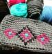 手編みオルテガ柄 ネイティブ風バッグ ズパゲッティ クラッチバッグ グリップ付き 斜めがけ ポシェット