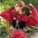 1019レディース パーカー トレーナー スウェットシャツ ゆったり 大きいサイズ  ショート丈 カジュアル ヒップアップ ダンスウェア 赤 黒