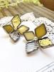 ガラスの黄色系の紫陽花 ピアスかイヤリングの金具が選べます
