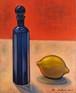 油絵作品「青い瓶と檸檬」