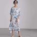 Round neck blue pattern dress ラウンド ネック ブルー 柄 ワンピース